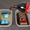 iPhone 6s、Galaxy S7・S6、Xperia Z5Cをコーラに浸して9時間冷凍庫に入れる実験