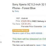Xperia XZ、世界最速発売地域イギリスで10月18日に発売。例年より遅め