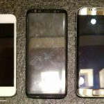Galaxy S8とiPhone 7、Galaxy S7 edgeを並べて比較した画像
